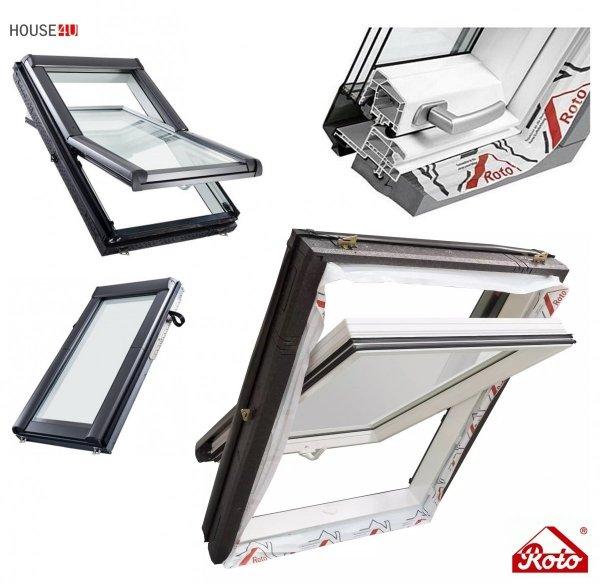 Dachfenster Roto Designo R4 Schwingfenster R49 3-fach-Verglasung Uw-Wert 1,1 ENERGIE Kunststoff PVC mit Wärmedämmblock, PVC Profile in Weiß, Aluminium _ house-4u.de