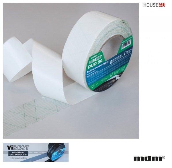 MDM® ViBEST ViBEST DUO Doppelseitiges Klebeband zur Verbindung von Unterspann-/Unterdeckbahnen 50 mm x 25 m, UV-stabilisiertes Klebeband, mit hoher Alterungsbeständigkeit - verstärkt mit Polyesternetz, ViBEST Klebebaender Unterdeck-Unterspannbahnen