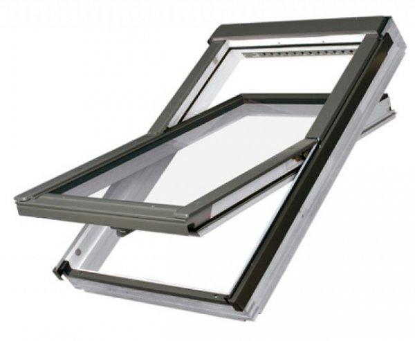 Dachfenster Fakro FTU-V U5 Schwingfenster Schwingfenster aus weiß lackiertem Holz PU-Kunststoff-Lack Dauerlüftung V40P topSafe-System Uw 0,97 Polyurethan-Kunststofflack erhöhter Feuchteresistenz
