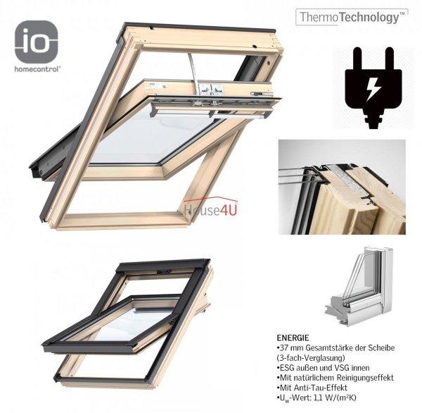VELUX INTEGRA Dachfenster GGL 306821 Elektrofenster aus Holz Schwingfenster 3-fach-Verglasung Uw= 1,1 ENERGIE Aluminium io-homecontrol® Elektro Holz klar lackiert