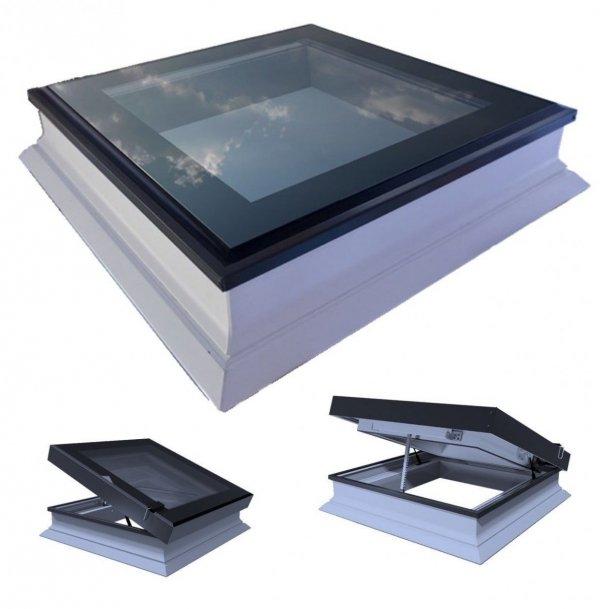 Elektrisches Flachdach-Fenster OKPOL PGC A1 Flachglassegment mit Regensensor elektrisch Uw=1,3 W/m²K Tageslicht für flache Dächer Elektrisch Gesteuert, FlachGlass, ohne kuppel, PVC-Rahmen, Automatisch zu öffnende
