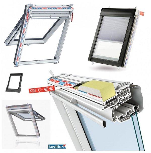 Dachfenster Keylite Polar PVC PTH Integral PVC Klapp-Schwingfenster mit Integriertes Rollo Thermal weiß Kunststoff Verglasung Uw=1,3 Fluchtwegsfenster 0 – 45 ̊ offen