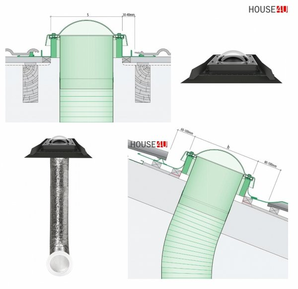 Tageslicht-Spot FAKRO SFD-S 350 550 mit flexiblem Rohr