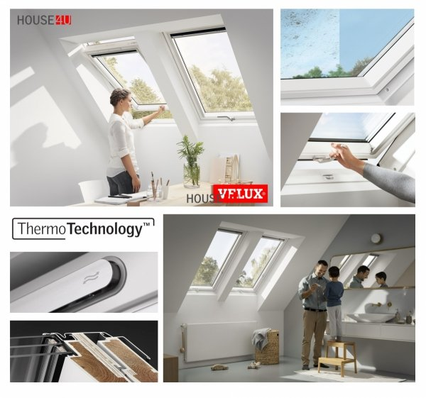 VELUX Dachfenster GLU 0064 B Kunststoffqualität Schwingfenster 3-fach-Verglasung ENERGIE STANDARD PLUS Boden Griff