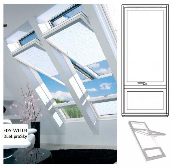 Dachfenster Fakro FDY-V/U Duet proSky Fenster Mit Höher Versetzter Schwingachse und Unterem Festelement mit dreifach Holzlackierung