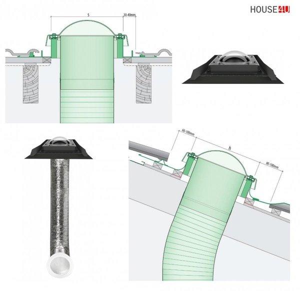 Tageslicht-Spot FAKRO SFD-H 350 550 mit flexiblem Roh