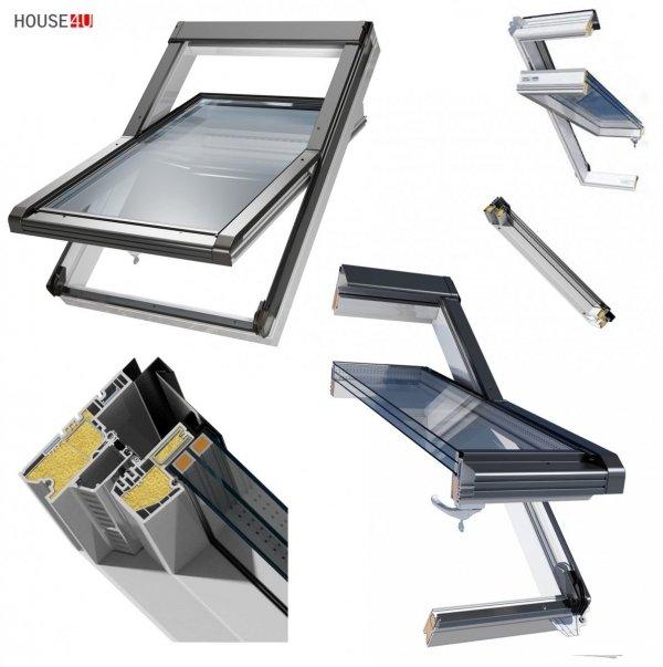 Dachfenster OKPOL IGOV N22 PVC Schwingfenster Kunststoff Profile in Weiß, 3-Scheiben