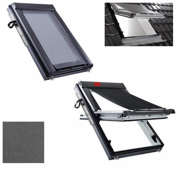 Markise/Außenrollo Roto ZAR Manual Hitzeschutz Markise Roto ZAR Manual  Hitzeschutz transparent schwarz Anti-Hitze-Markise für ROTO Dachfenster