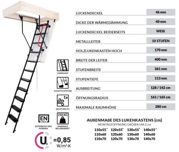 Bodentreppe OMAN SOLID EXTRA Dachbodentreppe mit Metallleiter  U=0,85 max Belastung bis 210 kg weiße Öffnungsklappe Raumhöhe 280