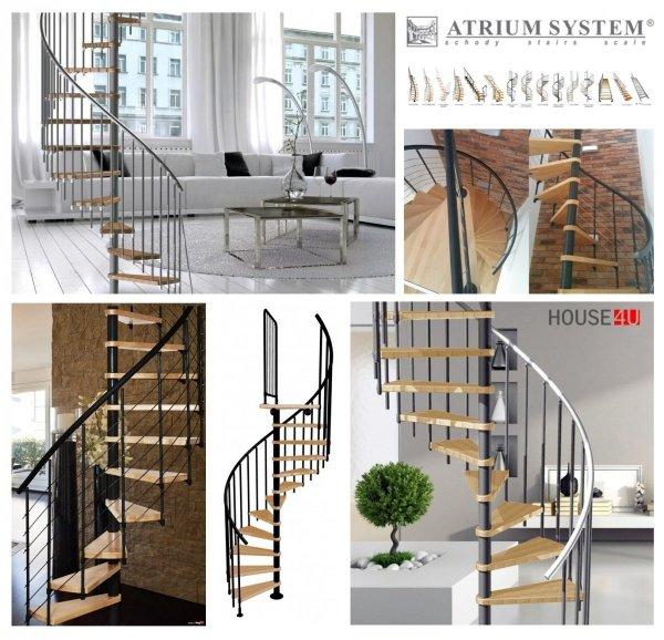 Spindeltreppe Atrium Novo Ø140 Schwarz 11 stufen Buche natur + Plattform