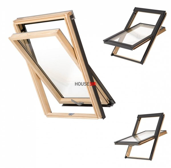Dachfenster Schwingfenster KEYLITE BW 2-fach-Verglasung Thermal Uw=1,3 Dachfenster aus Holz: klar lackiert / Boden-Griff