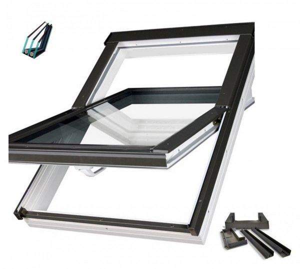 FAKRO Dachfenster PTP-V U5 78x118 weiß, Uw: 0,95 Kunststoff-Schwingfenster, PVC, topSafe, vier Dichtungen, ohne Dauerlüftung, Einscheibensicherheitsglas (ESG) außen und innen