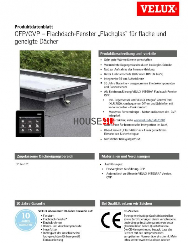VELUX Flachdachfenter Basis-Element CFP 0073U www.house-4u.eu