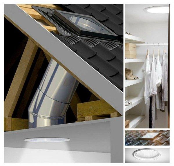 Tageslicht-Spot Velux TWR SD0W1 mit starrem Rohr und 2 Kniegelenken, Gesamtlänge 170 cm, Polyurethan schwarz, Aluminiumschürze grau NCS-S 7500 N, für profilierte Eindeckmaterialien, inkl. BFX und BBX