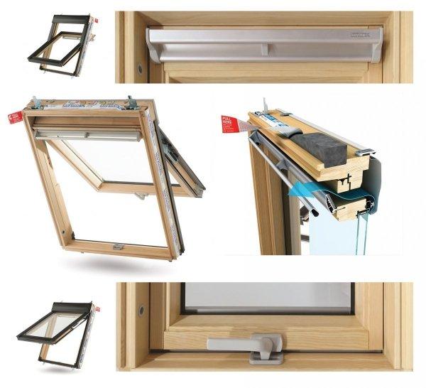 Dachfenster Keylite TFE Thermo Kiefernholz Klapp-Schwingfenster aus Holz mit Wärmedämmblock Uw=1,3