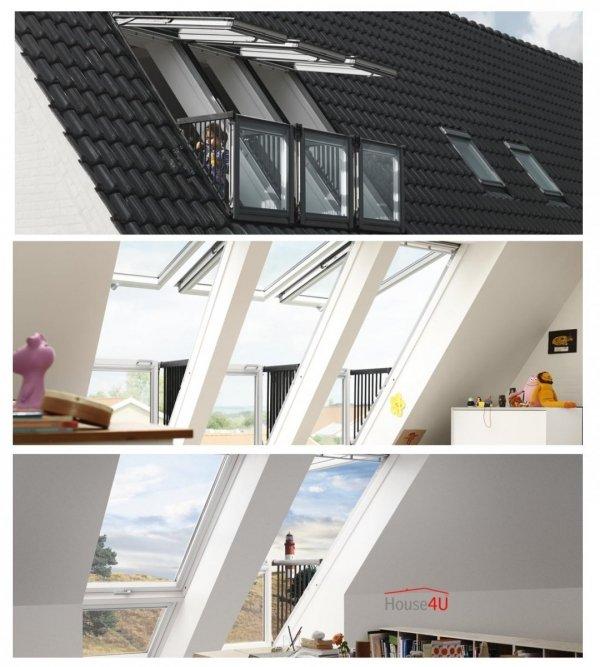 VELUX Dachfenster GDL Cabrio 2066 SK19 114x252 Dachbalkon  Holz Dachaustritt /Kiefer weiß lackiert ENERGIE PLUS Dachbalkon