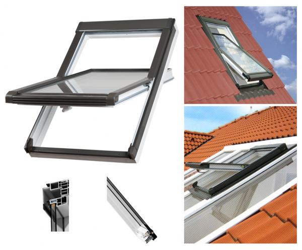 OUTLET: Dachfenster OKPOL PVC NK 94X140 Uw= 1,4 Schwingfenster Kunststoff-Dachfenster PVC Profile in Weiß