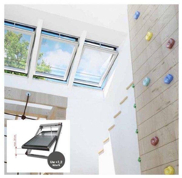DACHFENSTER OKPOL Elektrofenster IGC2V I22 Uw= 0,9 Schwingfenster Kunstoffenster PVC Profile in Weiß / Automatische Fenstern mit elektrischem Stellantrieb - Wandschalter / 3-Fach_Verglasung