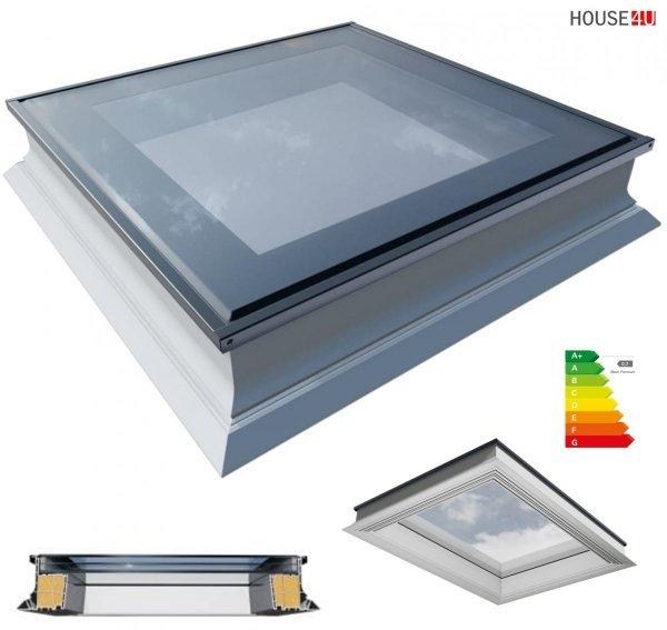 Flachdach-Fenster OKPOL PGX B1 3 Scheiben PVC Festverglastes Uw=0,7 W/m²K/ Flachverglasung 3-fach, Tageslicht für flache Dächer ohne kuppel