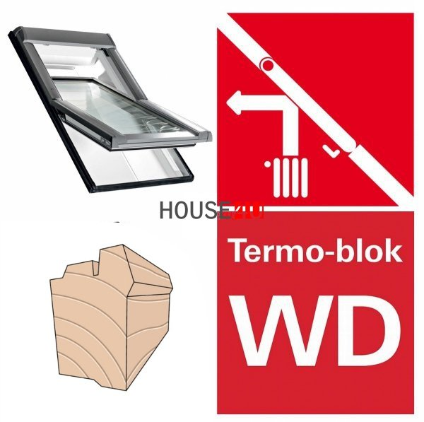 Dachfenster Roto R45 H200 (WDF R45 H WD AL)  Uw=1,3  blueLine Schwingfenster aus Holz mit Wärmedämmblock