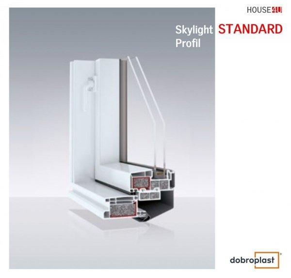 Ausstiegsfenster Dobroplast PVC Skylight Loft 45x73 Dachausstieg aus Kunststoff,  Profile in Weiß PVC Uw = 1,8 W/m2K  Dachluken - Dachausstieg - Dachluke - Dachfenster