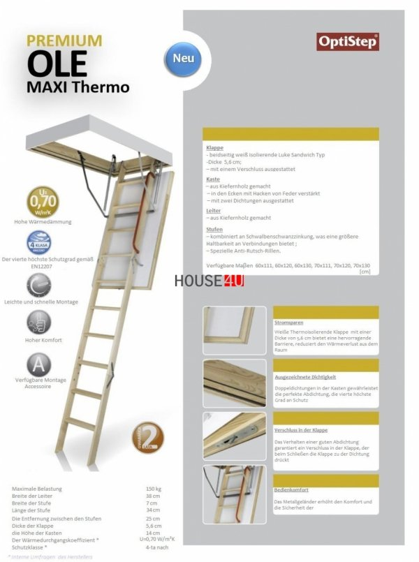 KRONmat Bodentreppen OLE MAXI Thermo U = 0,7 aus Holz Super-thermoisolierte Bodentreppen www.house-4u.eu