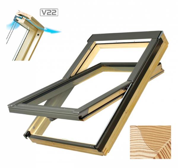 Dachfenster Fakro FTS-V U2 Schwingfenster aus Holz mit Dauerlüftung www.house-4u.eu