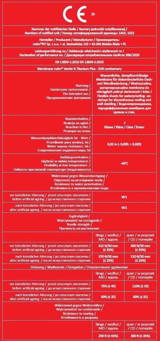 Dachbahn mdm NT Ventia N Titanium Plus - 25th anniversary Diffusionsdachmembran aus der Ventia-Linie mit einer Gewicht von rd. 190 g / m² und eine Dicke von 750 μm, dreischichtig, überdurchschnittlich fest, mit sehr hoher Dampfdurchlässigkeit (Sd = 0,02
