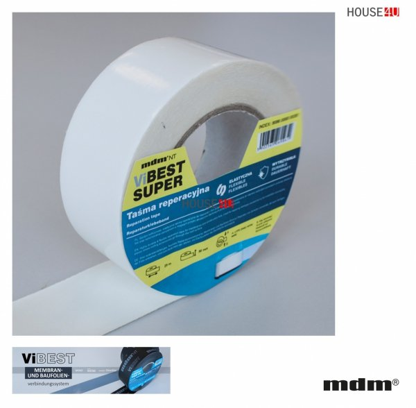 MDM® ViBEST SUPER Reparaturband 50 mm x 25 m, Hochfestes, flexibles Reparaturband für die Verklebung von Unterspann- Unterdeckbahnen