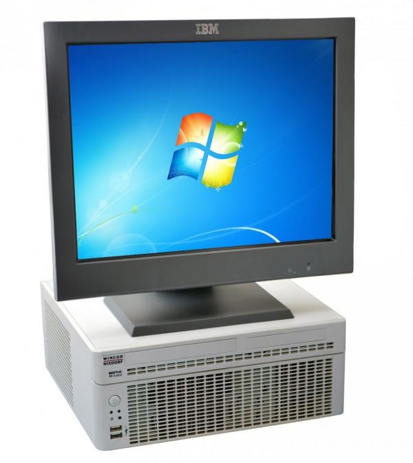 """Zestaw POS: komputer kasowy Wincor Nixdorf BEETLE M-II plus (Win7) + monitor dotykowy IBM 4820-51G 15"""" (używane)"""