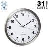 TFA 60.3523 zegar ścienny wskazówkowy sterowany radiowo płynąca wskazówka stal nierdzewna szkło średnica 31 cm