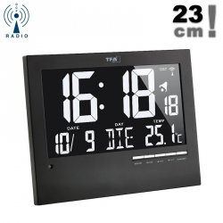 TFA 60.4508 zegar elektroniczny ścienny biurowy sterowany radiowo z termometrem podświetlany 23 cm