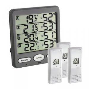 TFA 30.3054 KLIMA MONITOR termohigrometr bezprzewodowy z 3 czujnikami zewnętrznymi