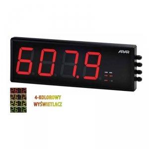 APAR AR753 miernik uniwersalny dwukanałowy temperatury i sygnałów analogowych wyświetlacz wielkogabarytowy 100 mm naścienny 500 x166 mm zegar