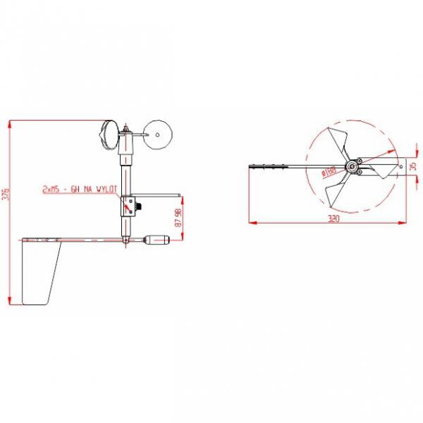 A-Ster WZ-120 wiatromierz RS485 anemometr czujnik prędkości i kierunku wiatru Modbus