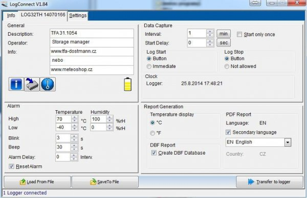 Rejestrator temperatury, wilgotności i ciśnienia TFA 31.1056 LOG32 THP data logger termo-higro-barometr USB do transportu