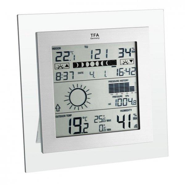 TFA 35.1121 SQUARE PLUS stacja pogody bezprzewodowa  z czujnikiem zewnętrznym błyskawiczna transmisja