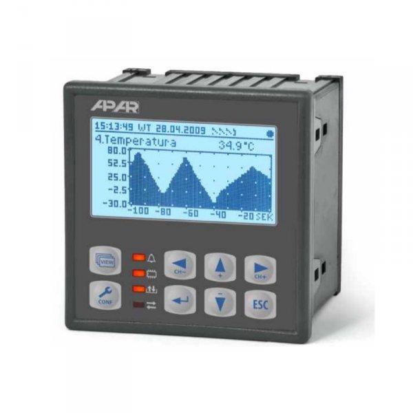 APAR AR205-8 rejestrator danych uniwersalny 8-kanałowy temperatury i sygnałów nalogowych wyświetlacz LCD tablicowy 96x96 mm