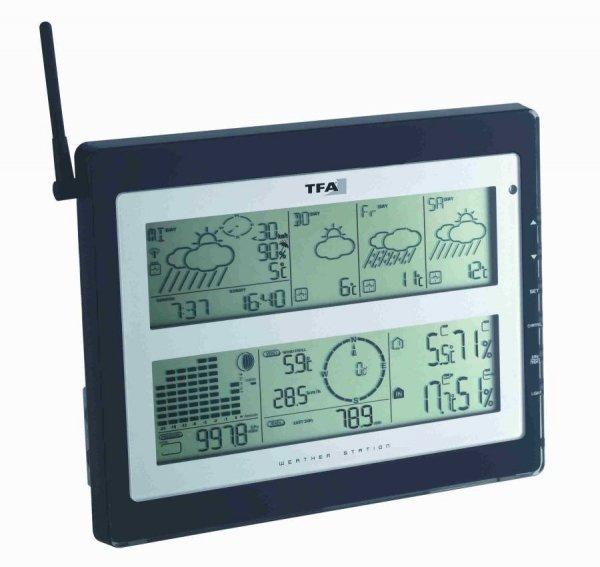 Stacja pogody bezprzewodowa TFA 35.1100 METEOTIME DUO zewnętrzna wiatr, opady z prognozą pogody radiową