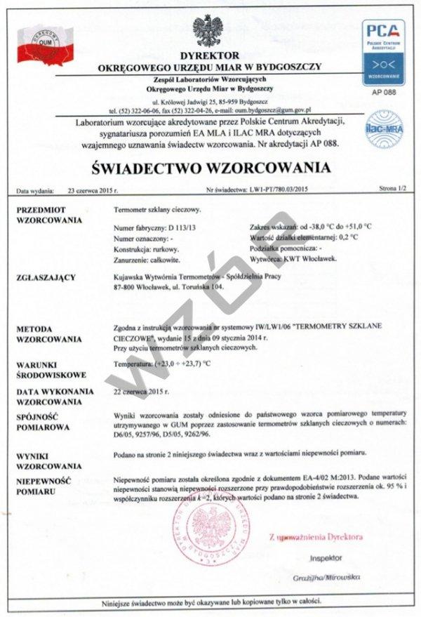 Świadectwo wzorcowania barometru SW-7-PCA rejestratora ciśnienia z akredytacją PCA