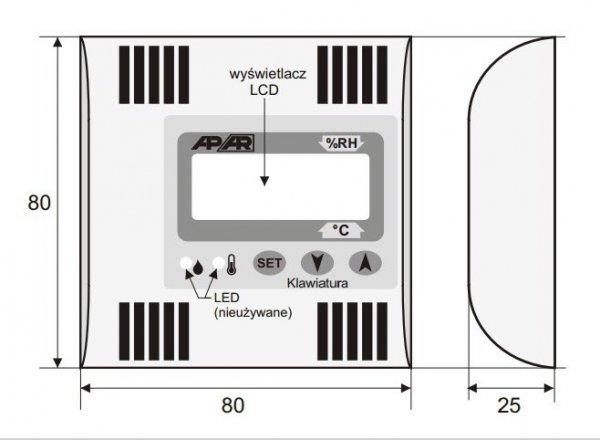 APAR AR256 termohigrometr przemysłowy analogowy czujnik temperatury i wilgotności wewnętrzny wyświetlacz LCD