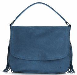 Listonoszka Skórzana VITTORIA GOTTI Made in Italy V5022 Niebieska - Jeans