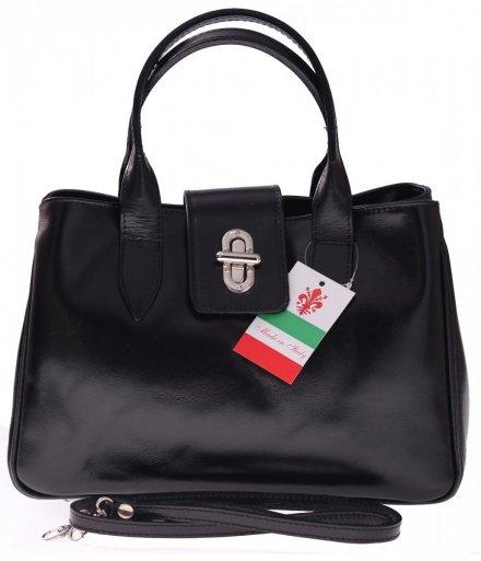 Torebka skórzana kuferek Made in Italy Czarny