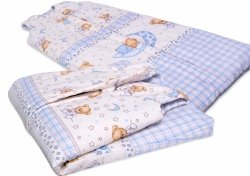 Śpiworek dla dziecka od 2 do 5 lat niebieska krata z misiami