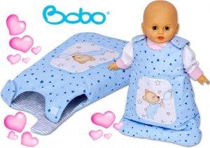 Śpiworek dla lalki niebieskie gwiazdki z misiem