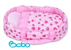 Nosidełko dla lalki do 35 cm różowe serduszka