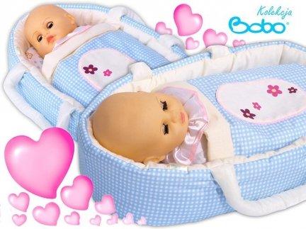 Nosidełko BOBO z aplikacją dla lalki do 45 cm niebieska kratka