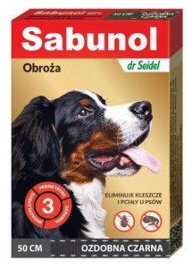 DermaPharm Sabunol GPI Obroża przeciw pchłom dla psa ozdobna czarna 50cm
