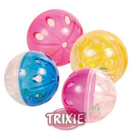 Trixie Piłki plastikowe przezroczyste z grzechotką 5cm 4szt TX-4166