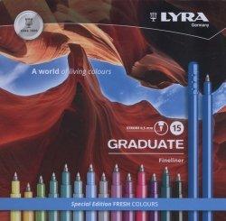 Pisaki Lyra Graduate Fineliner 15 kolorów
